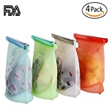 Silicone Food Storage Bag - 4 Pack - [Reusable Freezer Storage Container] Preservation Airtight Container - Kitchen Gadgets