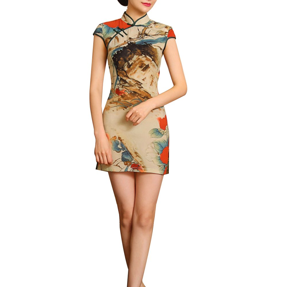 Pevor Women's Vintage Chinese Qipao Cheongsam Dress Floral Flare Stretch Stand Collar Casual Pencil Dress XXL