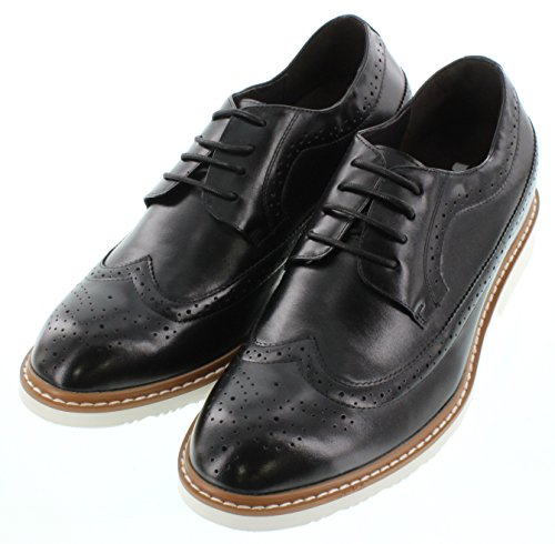 Toto-x6062-6,6cm Grande Taille-Hauteur Augmenter Chaussures ascenseur (wing-tip Noir à Lacets)