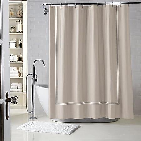 86176f0a2b6 Wamsutta® Baratta Stitch 54-Inch x 78-Inch Stall Shower Curtain in  Taupe Ivory  Amazon.co.uk  Kitchen   Home