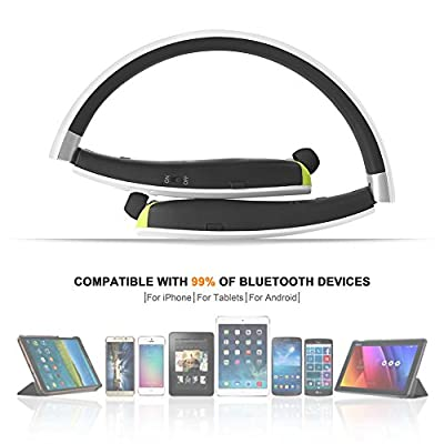 HOBEST Bluetooth Headphones-Foldable and Retractable, Wireless Neckband Bluetooth Headset Stereo Noise Cancelling Sports Sweatproof Earbuds with Mic-SX990