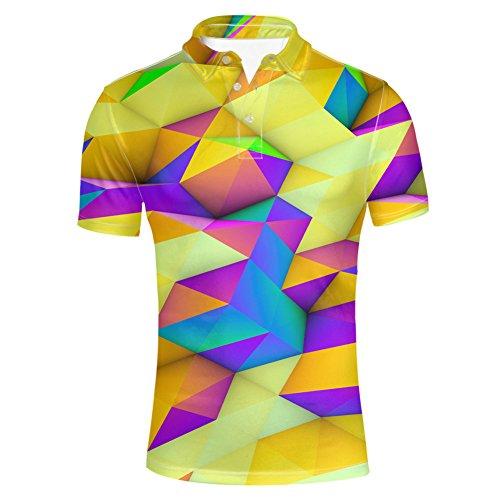 HUGS IDEA Geometric Designs Men's Golf Polos T-Shirts Novelty Breathable Summer Short Sleeve Turn Down Collar Shirts Tees