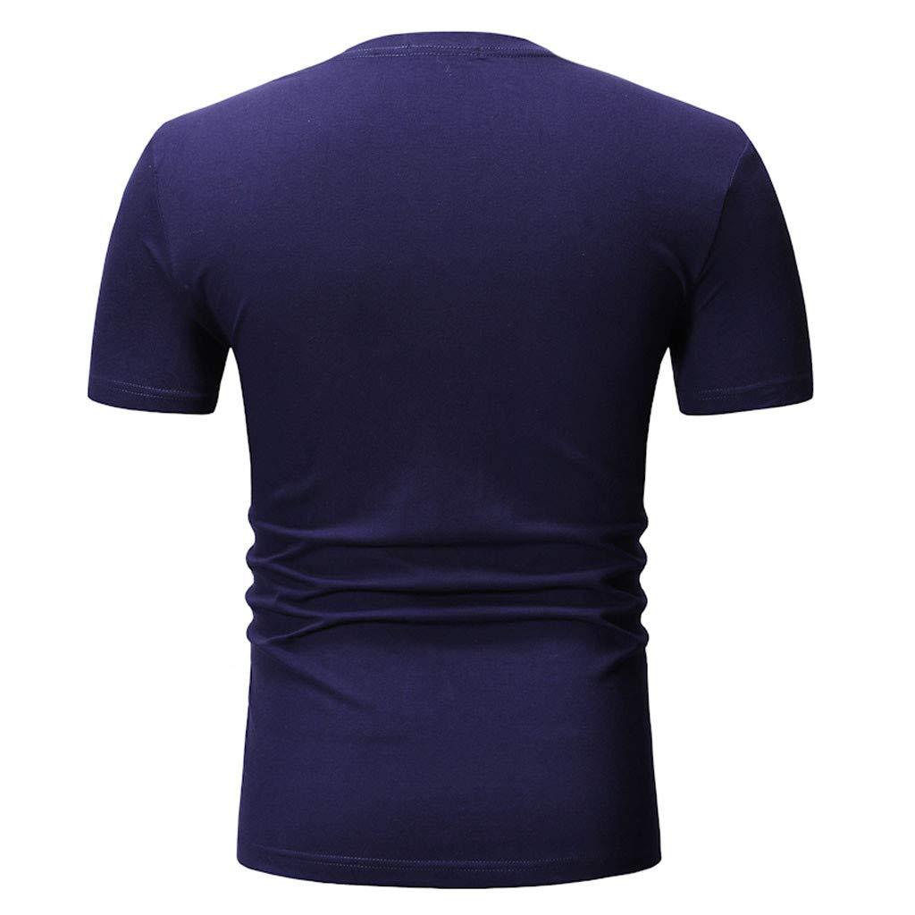 Xiloccer Summer Mens Fashion Round Neck Personalit Print Short Sleeve Leisure Top Blouse