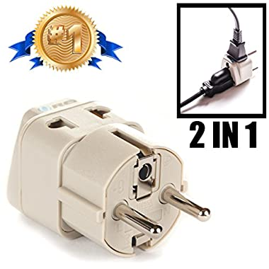 OREI Grounded Universal 2 in 1 Schuko Plug Adapter Type E/F for Germany, France, Europe, Russia & more - CE Certified - RoHS Compliant