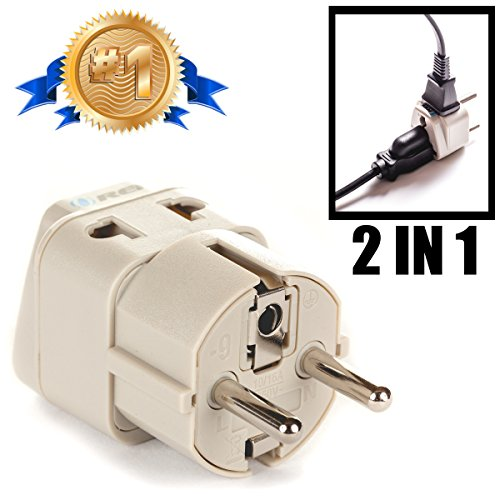 Price comparison product image OREI European Plug Adapter Schuko Type E/F for Germany, France, Europe, Russia - Grounded 2 in 1