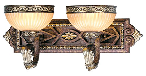 Palacial Bronze With Gilded Accents 2 Light 120W Bathroom Light With Medium Bulb Base And Hand Crafted Gold Dusted Art Glass From Seville Series (Collection Seville Bathroom Vanity)