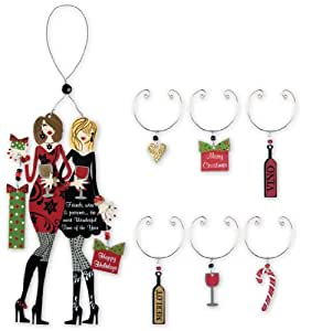Sunset Vista Designs Christmas Decorative Wine Bottle and Glass Charm Set, Fabulous Friends, Wine and Presents
