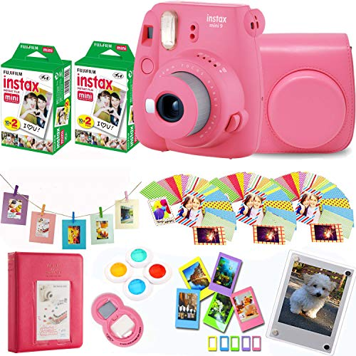 Fujifilm Instax Mini 9 – Flamingo Pink Instant Camera + Fuji Instax Film 40 Shots + Protective Case + Magnetic Acrylic Frame+Album, Hanging Frames, Desk Frames, Filters & Selfie Lens 90 PC Design Kit