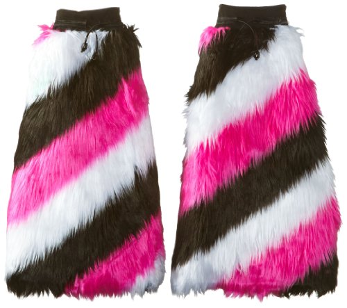 [Raveware Women's UV Reactive Stripe Furry Boot Covers, Pink/White/Black, One Size] (Furry Rave Boots)