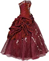 Faironly Strapless #M37 Formal Prom Dress Gown (Burgundy)