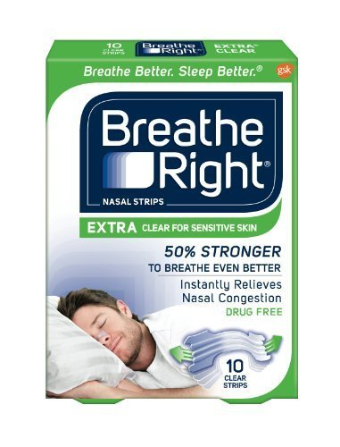 Breathe Right Extra Clear for Sensitive Skin, 10 Count by Breathe Right