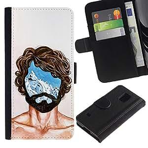 All Phone Most Case / Oferta Especial Cáscara Funda de cuero Monedero Cubierta de proteccion Caso / Wallet Case for Samsung Galaxy S5 V SM-G900 // Portrait Man Mind Head Life Thoughts Symbol