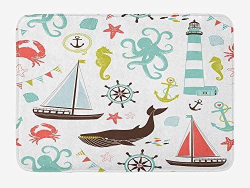 HAPPY-M Nautical Bath Mat, Pastel Colored Composition of Lighthouse Sailboat Fish Shells Octopus and Anchor, Plush Bathroom Decor Mat with Non Slip Backing, 24 W X 16 L Inches, Multicolor