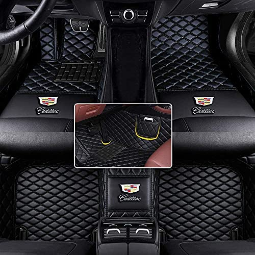 Custom Automotive Floor mats & Cargo Liners with Logo Fit for Cadillac ATS Sedan Coupe CTS Wagon CT6 DTS Escalade SRX STS XLR XT4 XT5 XT6 XTS 2002-2022 All Leather Non-Slip Surrounded Waterproof