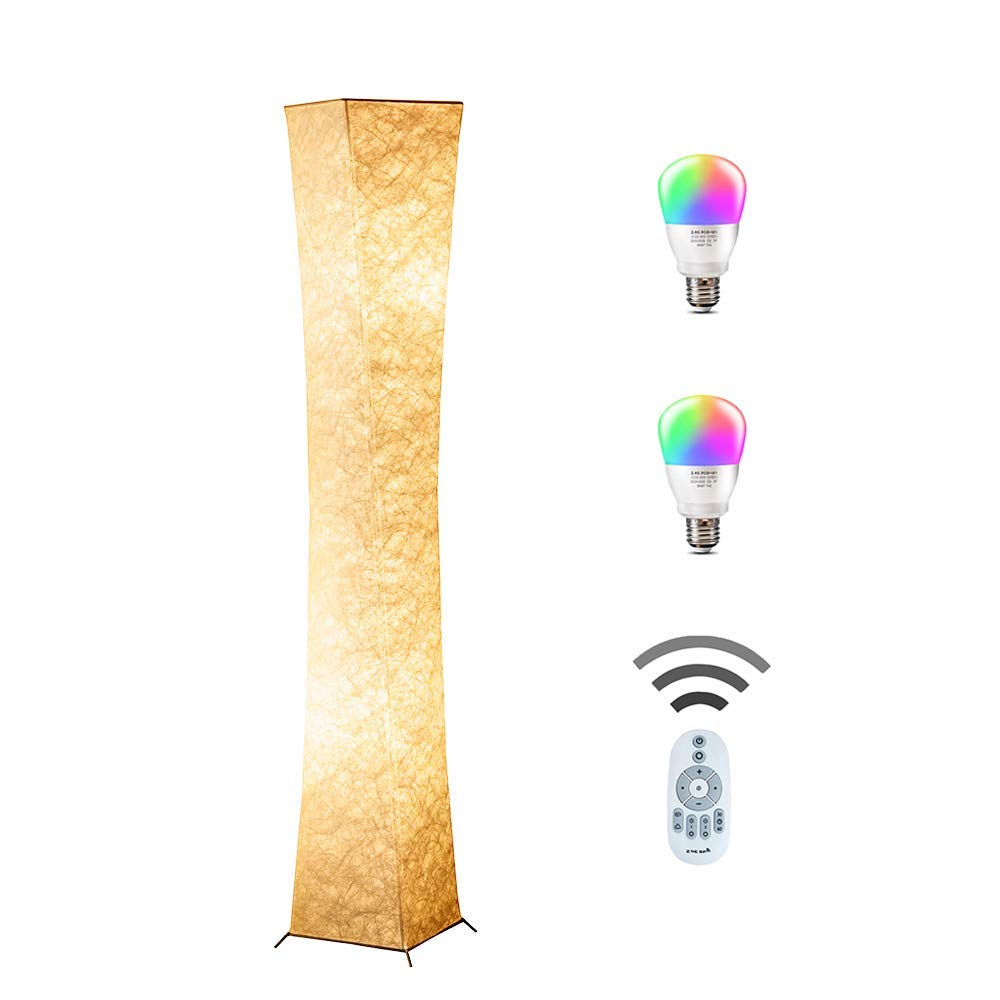 Floor Lamp, CHIPHY 64'' Tall Lamp, Dimmable and Color Changing LED Smart Bulbs and White Fabric Shade, with Remote Control, Standing Lamp for Living Room, Bedroom and Kids Room(64''10''10'') by chiphy