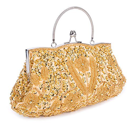 Bag Design Kisschic Vintage Beaded Clutch Purse Sequin Gold Evening f6UO60