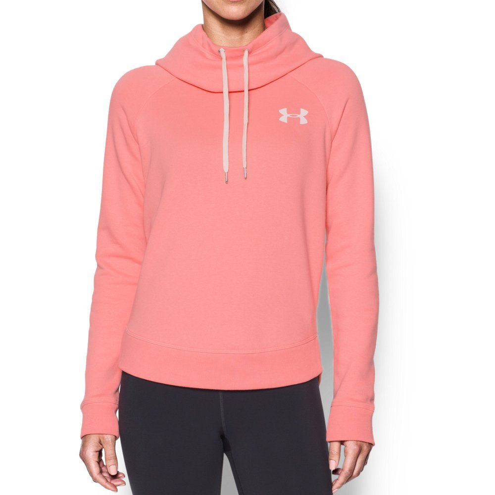 Under Armour Women's Novelty Favorite Pull Over Left Chest Jacket, Cape Coral /White, Small