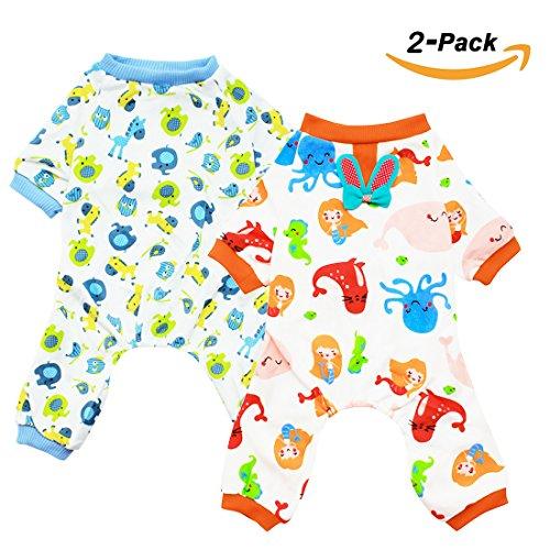 51KwzlmmvqL - Scheppend 2-pack Dogs Cats Onesie Pajamas Cotton Puppy Rompers Pet Jumpsuits Cozy Bodysuits