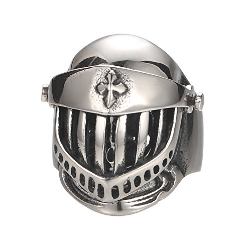 Zoro Jewelry Silver Tone Well polished Medieval Crusader Templar Knight Helmet 316L Stainless Steel Mens Warrior Ring (9)