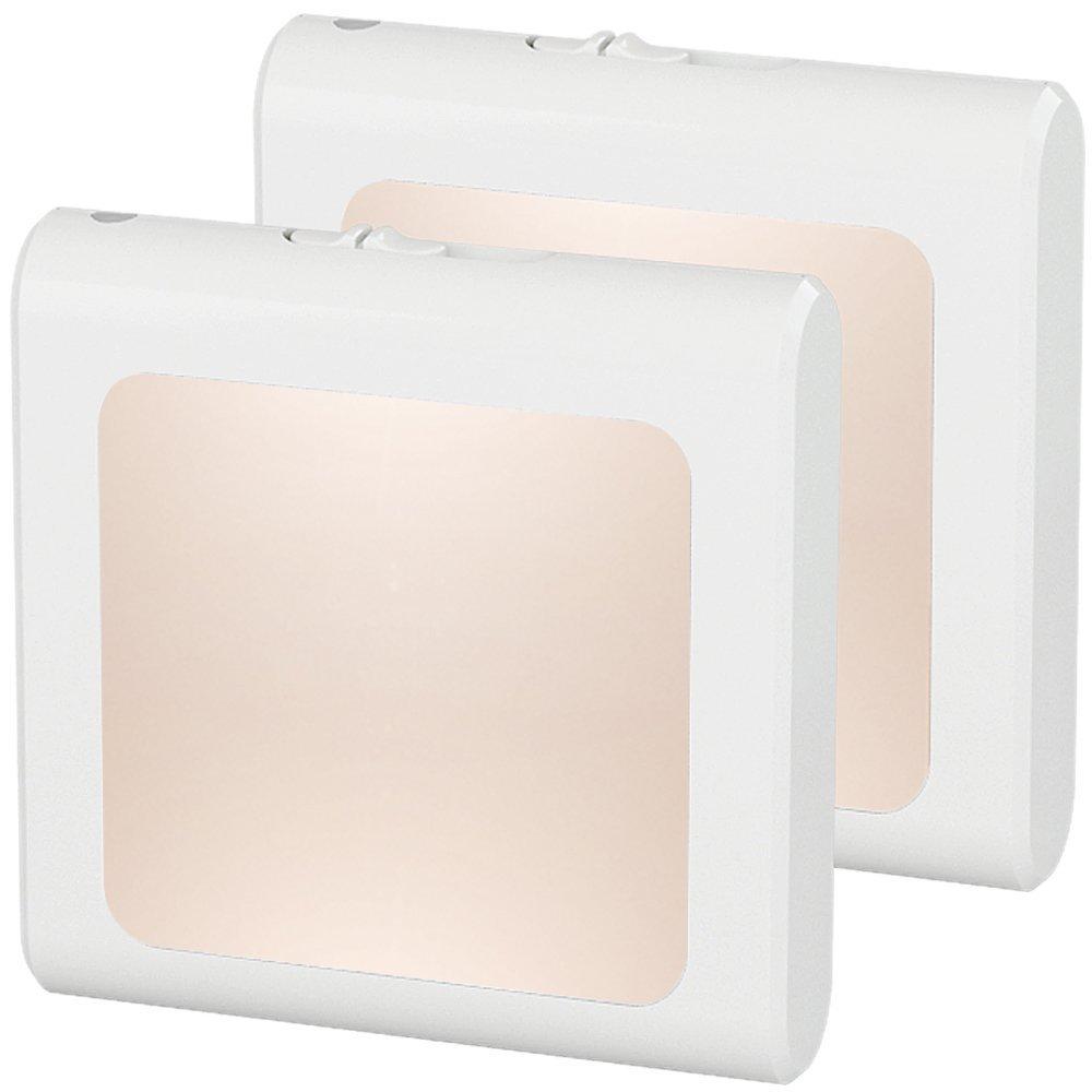 [2Pack] MIRANCO Plug-in Led Night Light with Auto Dusk to Dawn Sensor,Adjustable Brightness Warm White Lights for Hallway,Bedroom, Kids Room, Kitchen, Stairway,Bathroom