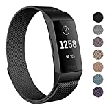 SWEES Metal Bands Compatible Fitbit Charge 3 and Charge 3 SE, Milanese Stainless Steel Magnetic Replacement Small & Large (5.5' - 9.9') for Women Men, Silver, Champagne, Rose Gold, Black, Colorful