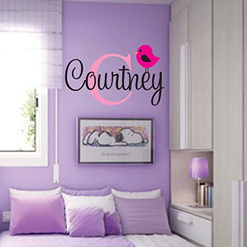 Personalized Monogram Kids Wall Decals - Girls Wall Decal- Name Vinyl Lettering - baby girl nursery wall decal Courtney