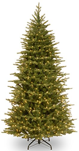 """National Tree 7.5 Foot """"Feel Real"""" Nordic Spruce Slim Tree with 750 Clear Lights, Hinged (PENS1-321-75) -  National Tree Company"""