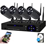 SDETER Security Camera System Wireless HD Outdoor Home Surveillance System 4 Security Cameras NVR Kits Pre-Installed 1TB Hard Drive Remote View Motion Dectection and Night Vision