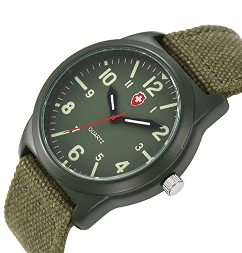 Vavna Lucky Unisex Canvas Strap Swiss Army Quartz Crime Army Watch Military Sport Wrist Watches - Army Green