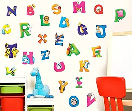 Amazon.com: Wall Sticker Decal English Alphabet Animal Letters Kids Room  Decor Mural Nursery Daycare And Kindergarten DIY Self Adhesive Removable 10  X 17 ...