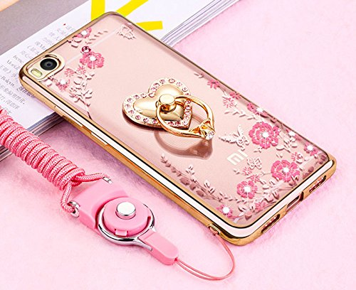 Price comparison product image Xiaomi Redmi 4X Case, ikasus Pink Butterfly Flower Bling Crystal Rhinestone Diamonds Clear Rubber Golden Plating Frame & Pink Straps Love Diamonds Kickstand Soft TPU Case Cover for Xiaomi Redmi 4X