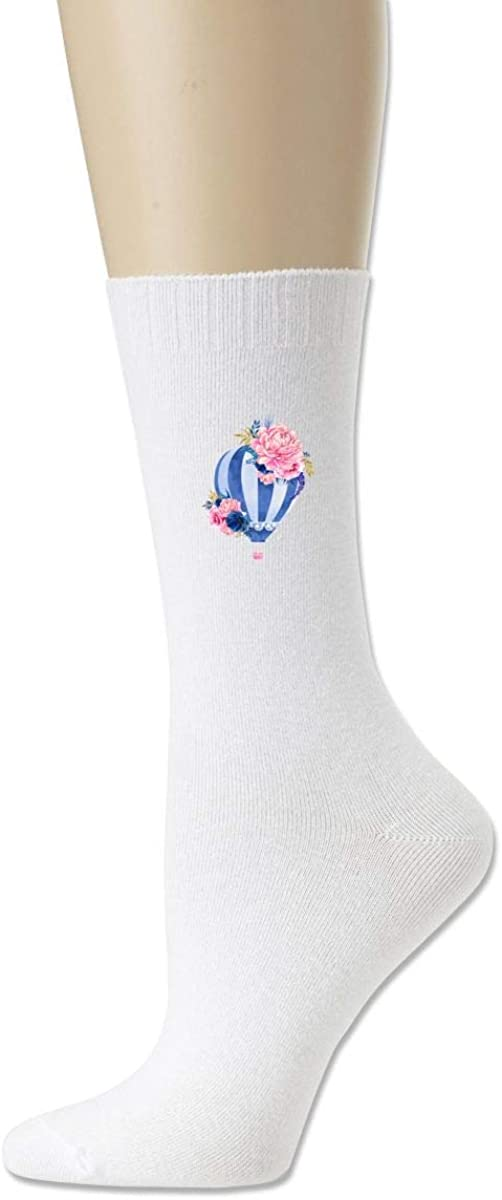 Women High Ankle Cotton Crew Socks Hot Air Balloon Casual Sport Stocking