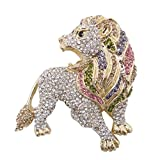 EVER FAITH Roaring King Lion Multicolor Austrian Crystal Brooch Gold-Tone