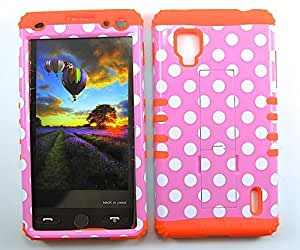 Cell-Attire Shockproof Hybrid Case For LG Optimus G, LS970 and Stylus Pen, Orange Soft Rubber Skin with Hard Cover (Polka Dots, Pink, White) Sprint by mcsharks