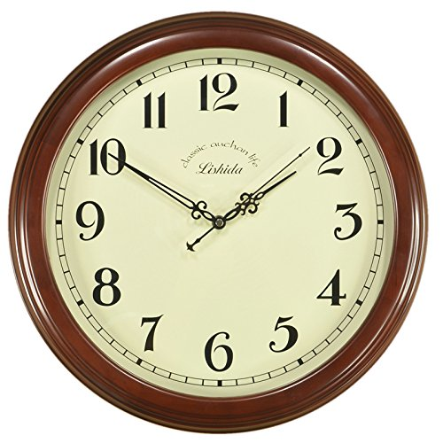 - Imoerjia European Style Solid Wood Antique Mute Wall Clock Living Room Clock Antique Wall Clock American Mount Table Quartz Clock, 16 Inch, Mahogany Color [ Word]