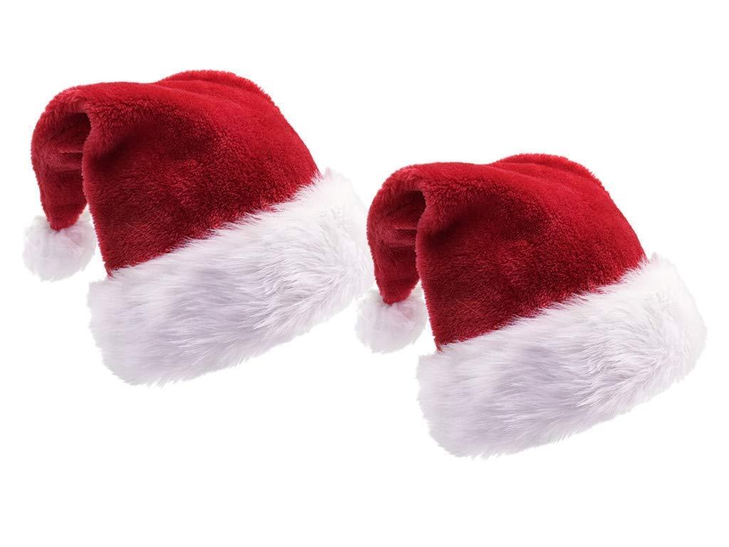 4ce2b251111c6a Amazon.com: Yansanido Pack of 2 18.5'' Adult Santa Hat Double Liner ...