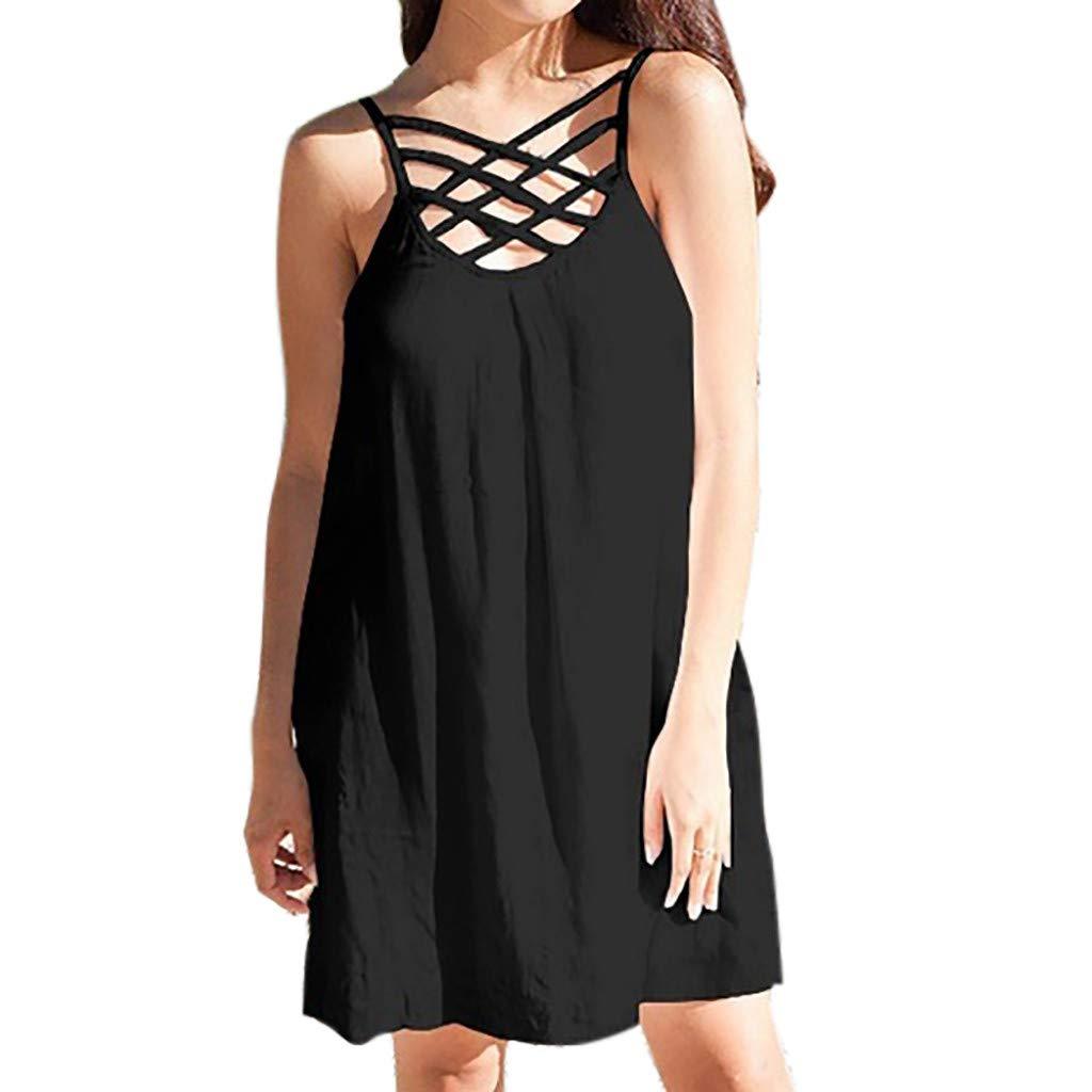 Oliviavan Frauen Sexy Einfarbig Kleider Lose Sleeveless Party Kleider Mode Weste Minikleid Spitze Mesh Kleid Sommerkleid Charmant Sling Ballkleid Damen Elegant Abendkleid