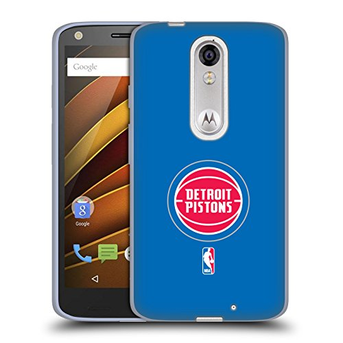Official NBA Plain Detroit Pistons Soft Gel Case for DROID Turbo 2 / X Force Turbo Piston