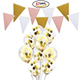 Naisidier 16 Pieces Gold Confetti Balloons 12 inch Party Ballons with 9.8Ft Long Bonus Handmade Banner for Wedding Birthday Party Festival Decorations