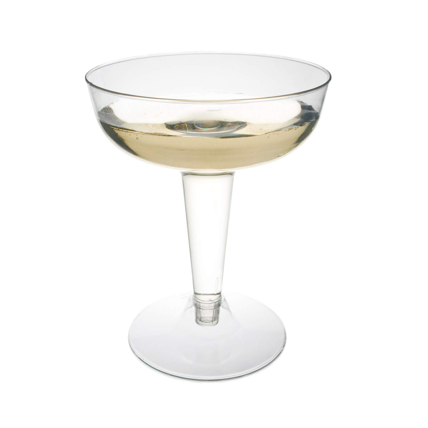 Toasted Drinkware Premium Hard Plastic Clear Two Piece 4 oz Champagne Glasses, 120 Count