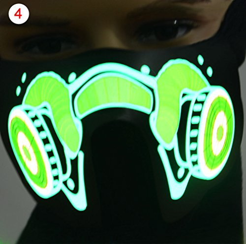 Halloween Led Luminous Flashing Face Mask Party Masks Light Up Dance Halloween Cosplay Masks 4