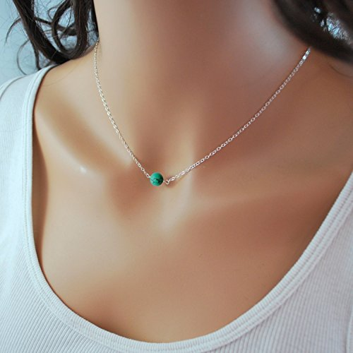 Sterling Silver Turquoise Choker Necklace, Handmade with Dainty Real Turquoise for Women or Girl Sterling Silver Turquoise