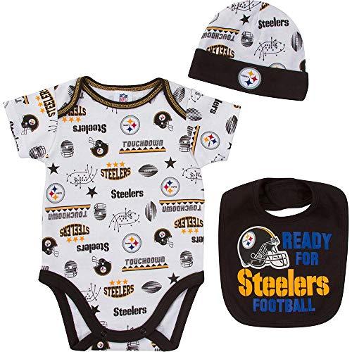 - NFL Pittsburgh Steelers Unisex-Baby Bodysuit, Bib & Cap Set, Black, 3-6 Months