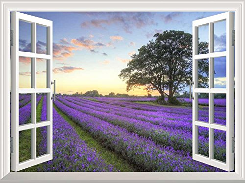 Removable Wall Sticker Wall Mural Sunrise on a Purple Filed Creative Window View Wall Decor