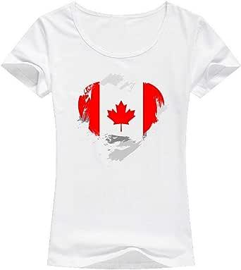 تيشيرت مطبوع علم كندا ، للنساء - ابيض
