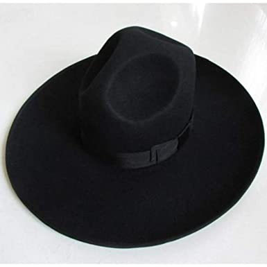 Black Israel Jewish Hat Wool Hasidic Jew Fedora Cap Wide Brim 10cm 4 in  (Also in Grey Brim 12 cm) at Amazon Men s Clothing store  8cb52e9891f