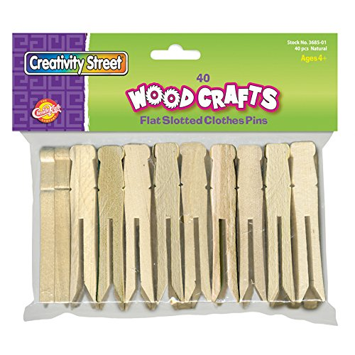 (Creativity Street Flat Wood Slotted Clothespins, 3-3/4