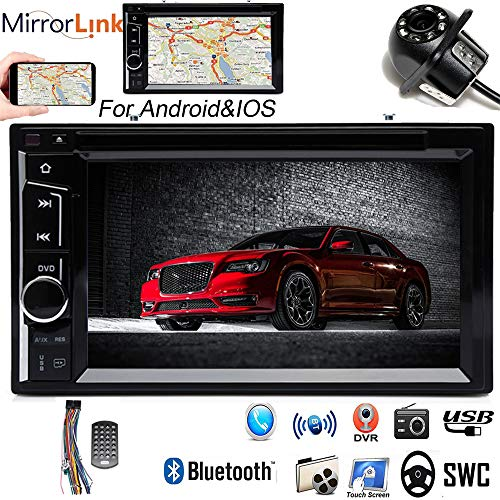 Double 2Din Car Radio with Backup Camera for Chrysler 300 300C 2005-2007, with Bluetooth 6.2inch Touchscreen Mirrorlink Steering Wheel Control USB TF MP3 MP5 CD DVD Player ()