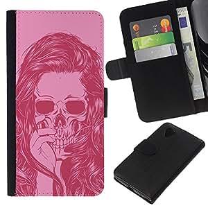KLONGSHOP // Tirón de la caja Cartera de cuero con ranuras para tarjetas - Cráneo del pelo Muchacha del arte Vignette Rosa - LG Nexus 5 D820 D821 //