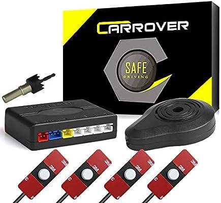 CAR ROVER Sensor Aparcamiento Kit 4 13mm Sensor Marcha Atras con Zumbador Bibi Alarma de Sonido (Blanco)